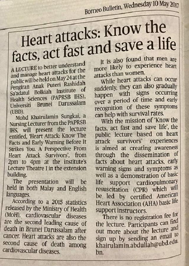 Heart Attack 2017 Public Lecture Newspaper