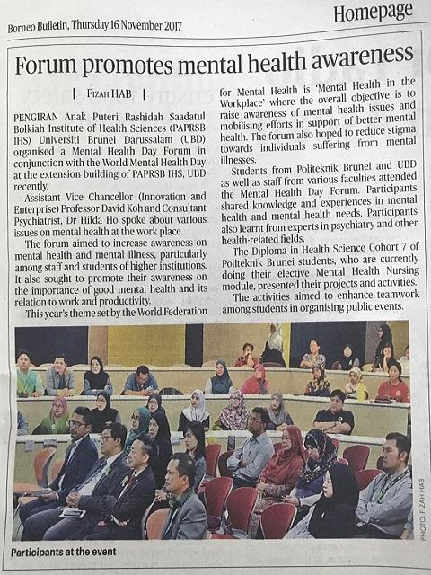 Borneo Bulletin - Forum promotes mental health awareness