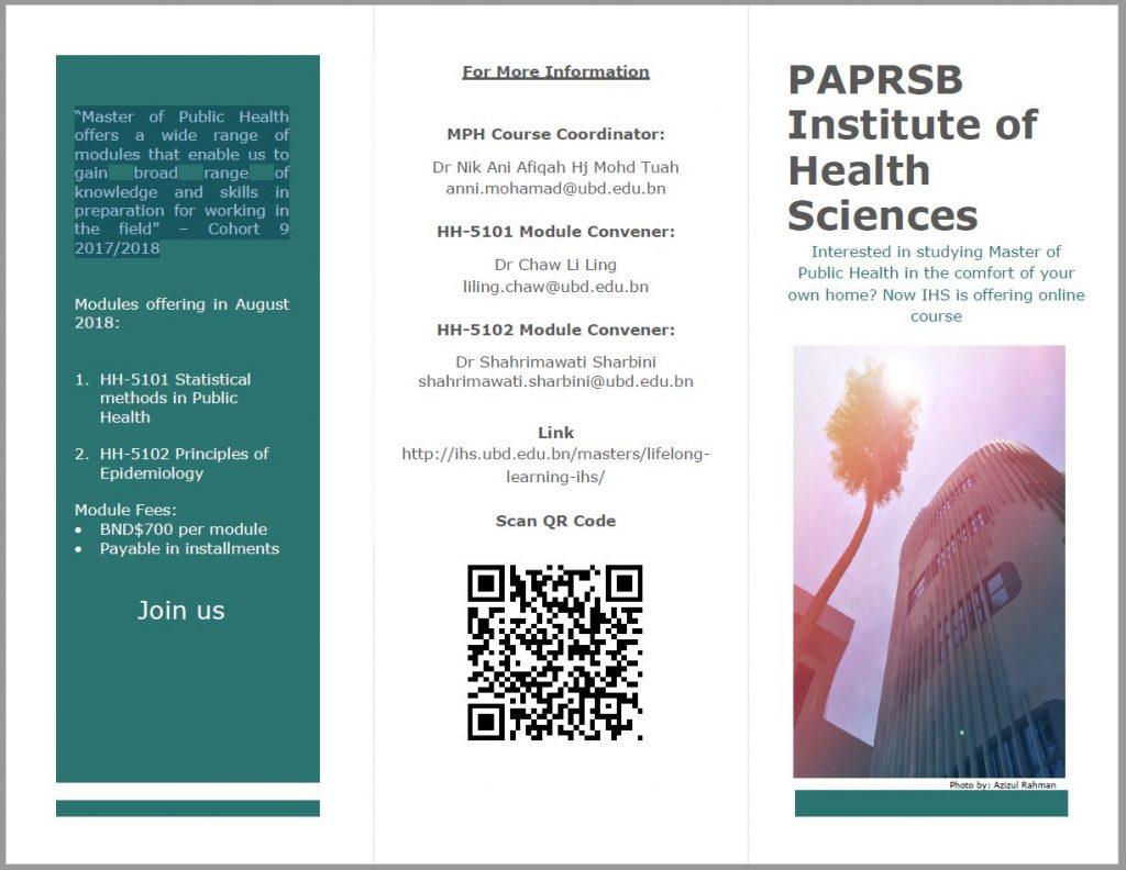 MPH Short Courses - UBD PAPRSB Institute of Health Sciences
