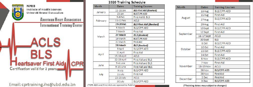 AHA-IHS ACLS BLS 2020 Dates